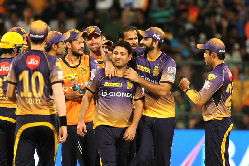 Piyush Chawla of Kolkata Knight Riders celebrates fall of a wicket during the second qualifier of IPL 2017 between Kolkata Knight Riders and Sunrisers Hyderabad at M Chinnaswamy Stadium in ...