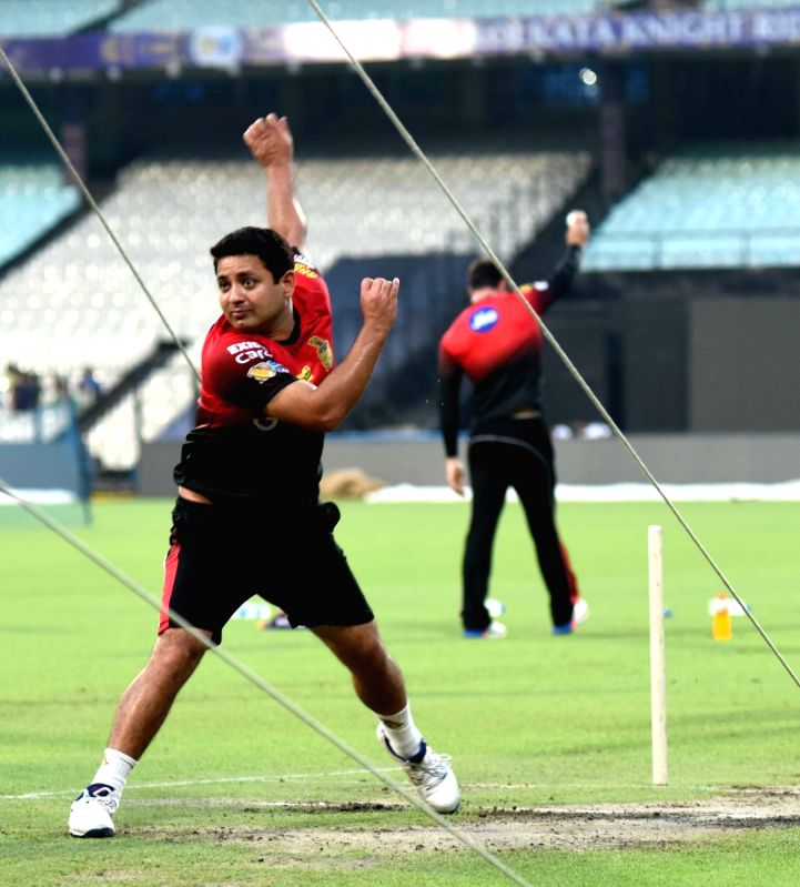 Piyush Chawla of Kolkata Knight Riders during practice session for IPL at Eden Gardens in Kolkata on May 2, 2017.