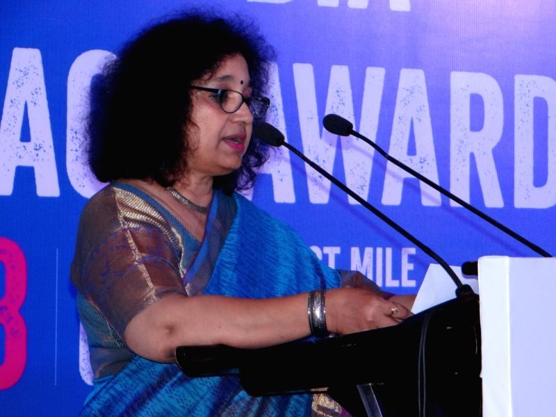 Plan India Executive Director Bhagyashri Dengle addresses during Plan India Impact Awards 2018, in New Delhi on July 27, 2018.