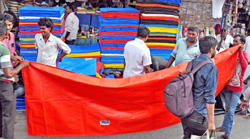 Plastic sheets being sold near Masjid Bunder ahead of monsoon in Mumbai, on May 31, 2017.