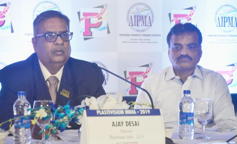 Plastivision India 2019 Chairman Ajay Desai (L) during a press conference in New Delhi on May 9, 2017. Also seen All India Plastic Manufacturers Association President Haren Sanghavi (R). - Ajay Desai
