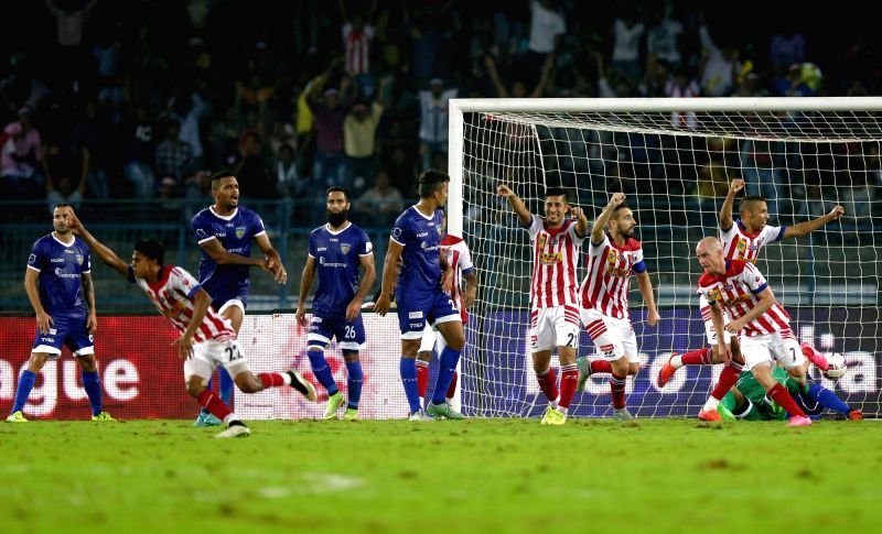 Players during an ISL match between Chennaiyin FC and Atletico de Kolkata in Kolkata, on Nov 18, 2015.