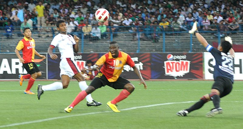 Players in action during a Calcutta Football League (CFL) match between East Bengal and Mohun Bagan in Kolkata on Aug 31, 2014.East Bengal won. Score: 3-1