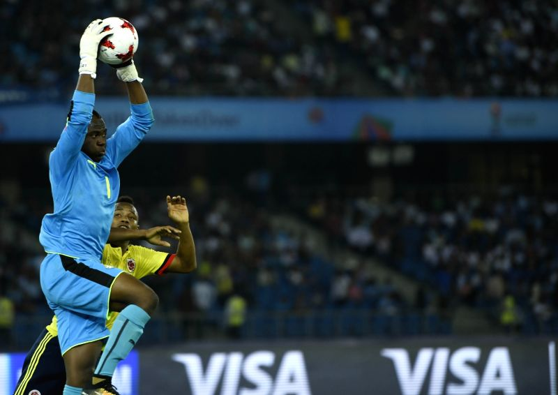 Players in action during a FIFA U-17 World Cup 2017 Group A match between Colombia and Ghana at Jawaharlal Nehru Stadium in New Delhi, on Oct 6, 2017.