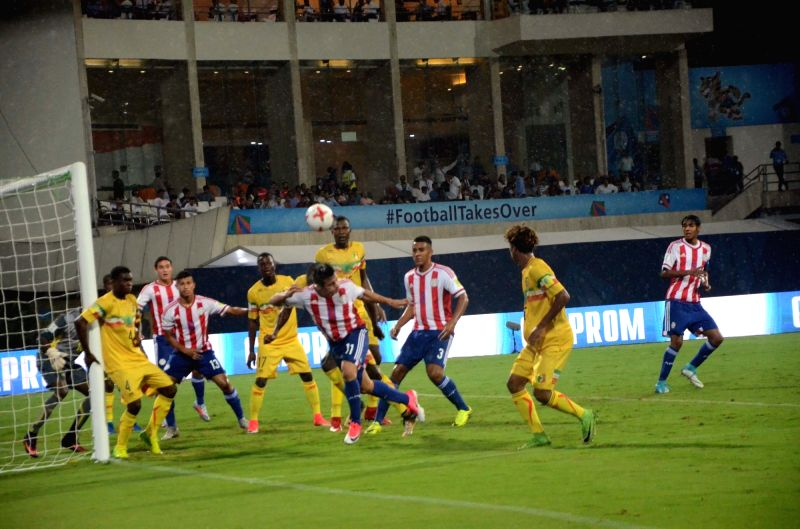 Players in action during a FIFA U-17 World Cup 2017 Group B match between Paraguay and Mali in Mumbai, on Oct 6, 2017.