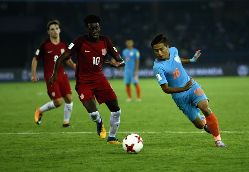 Players in action during a FIFA U-17 World Cup 2017 Group A match between India and USA at Jawaharlal Nehru Stadium in New Delhi, on Oct 6, 2017.