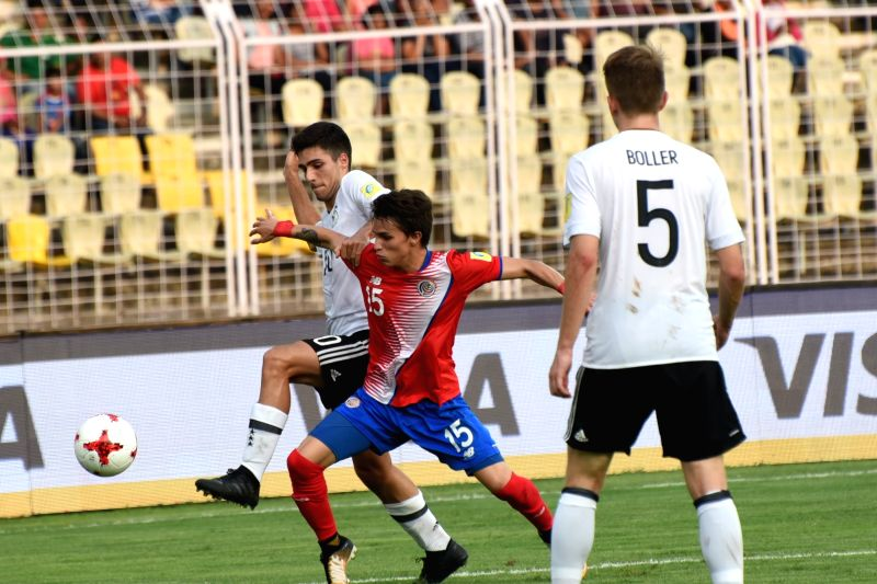 Players in action during a FIFA U-17 World Cup Group C match between Costa Rica and Germany in Fatorda, Goa on Oct 7, 2017.