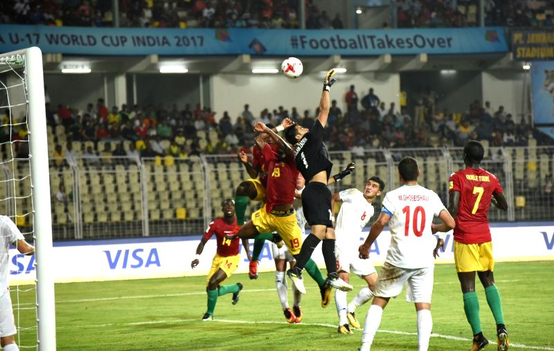 Players in action during a FIFA U-17 World Cup Group C match between Iran and Guinea in Fatorda, Goa on Oct 7, 2017.