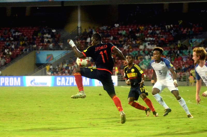 Players in action during a FIFA U-17 World Cup Group B match between USA and Colombia at DY Patil Stadium in Mumbai on Oct 12, 2017.