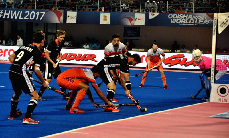 Players in action during a Hockey World League Final match between Germany Vs Netherlands at Kalinga Stadium in Bhubaneswar on Dec 7, 2017.
