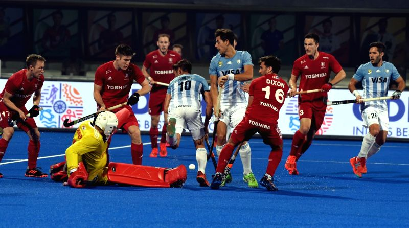Players in action during a Men's Hockey World Cup 2018 match between Argentina and England at Kalinga Stadium in Bhubaneswar on Dec 12, 2018.