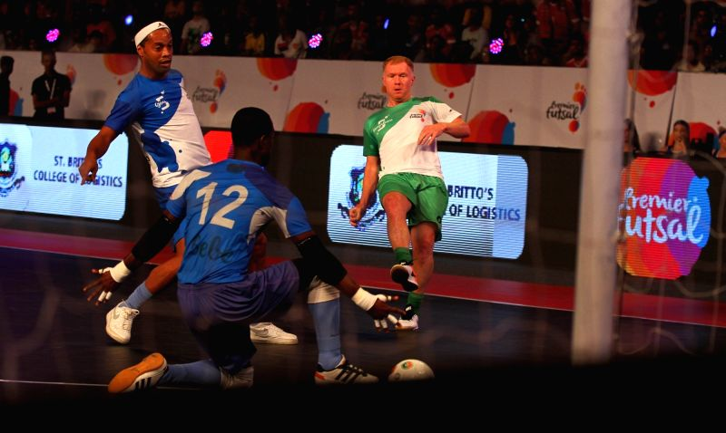 Players in action during a Premier Futsal match between Goa and Bengaluru; in Chennai on July 17, 2016.