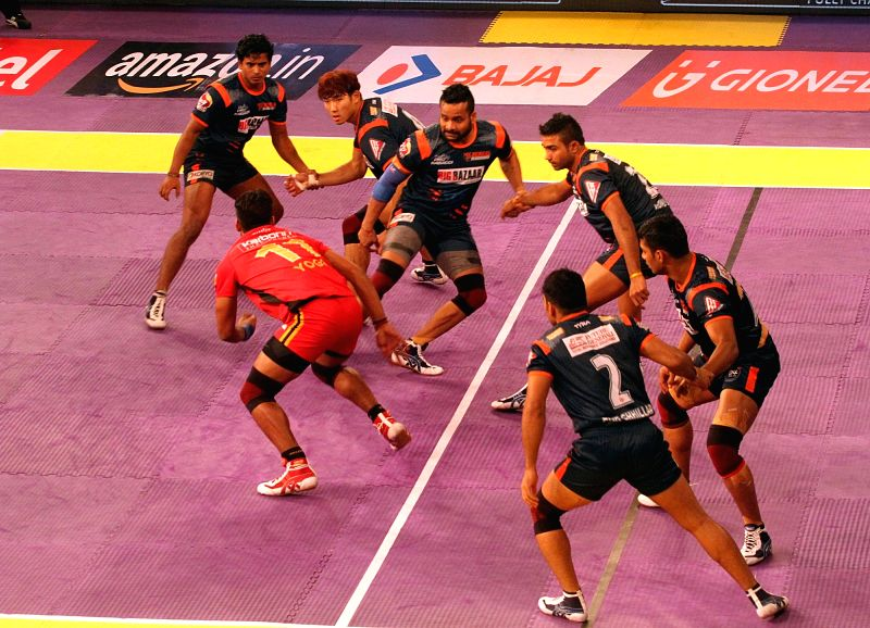 Players in action during a Pro Kabaddi League 2016 match between Bengal Warriors and Bengaluru Bulls in Kolkata, on July 19, 2016.