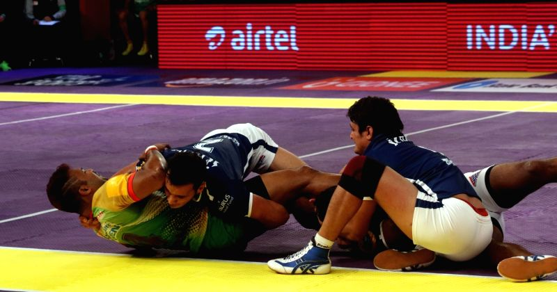 Players in action during a Pro Kabaddi League 2016 match between Dabang Delhi and Patna Pirates in New Delhi, on July 25, 2016.