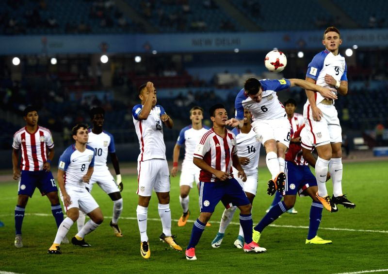 Players in action during a Round of 16 match of FIFA U-17 World Cup 2017 between Paraguay and USA at Jawaharlal Nehru Stadium in New Delhi, on Oct 16, 2017.