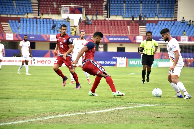 Players in action during a Super Cup match between Jamshedpur FC and FC Goa, at Kalinga Stadium in Bhubaneswar on April 12, 2018.
