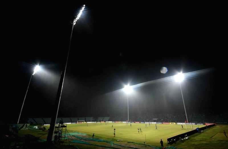 Players in action during AFC Cup match between Mohun Began and Maziya Sports and Recreation club at the Rabindra Sarovar Stadium in Kolkata on April 19, 2017.
