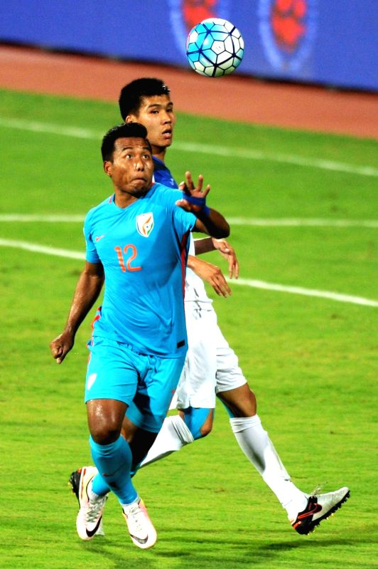 Players in action during an AFC Asian Cup UAE 2019 qualifying match between India and Kyrgyz Republic in Bengaluru on June 13, 2017.
