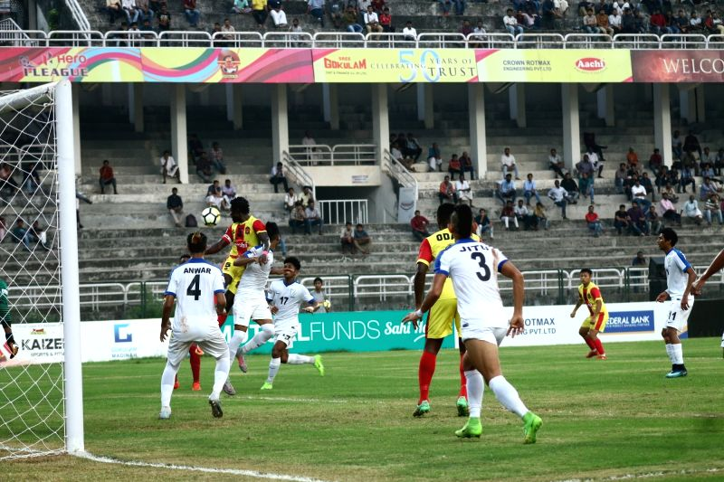 Players in action during an I-League match between Gokulam Kerala FC and Indian Arrows in Kozhikode, Kerala on Jan 12, 2018.