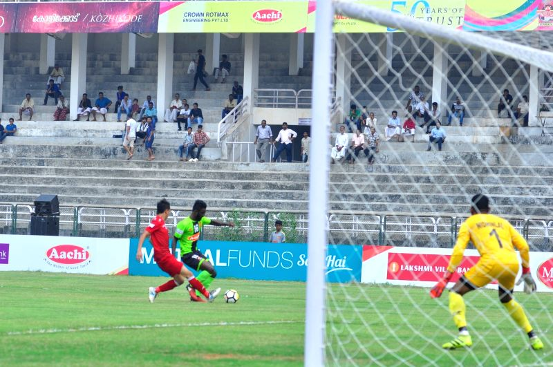 Players in action during an I-League match between Gokulam Kerala FC and Shillong Lajong FC at the EMS Corporation Stadium in Kozhikode on Jan 28, 2018.