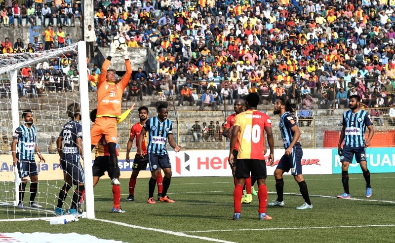 Players in action during an I-League match between Minerva Punjab FC and East Bengal F.C. at the Barasat Stadium in Barasat of North 24 Parganas district of West Bengal on Jan 30, 2018.
