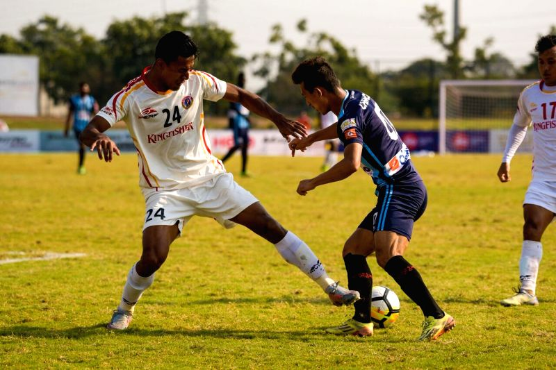Players in action during an I-League match between East Bengal and Minerva Punjab FC at the Tau Devi Lal stadium in Panchkula, Haryana on Feb 13, 2018.