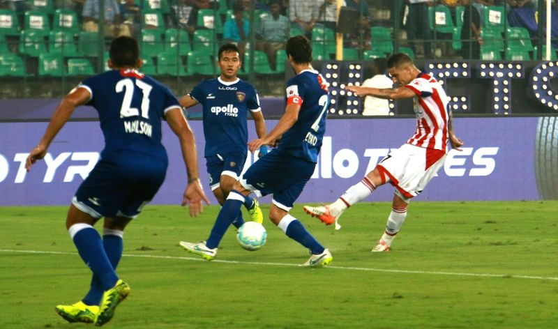 Players in action during an Indian Super League (ISL) match between Chennaiyin FC and Atletico de Kolkata FC at Jawaharlal Nehru Stadium in Chennai on Dec 7, 2017.