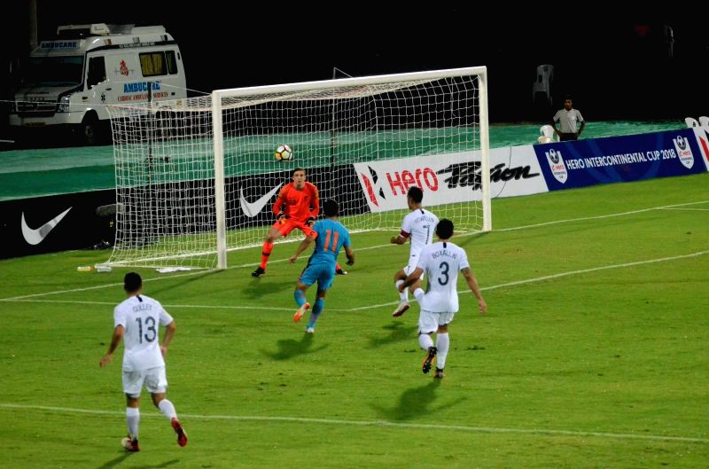 Players in action during an Intercontinental Cup 2018 match between India and New Zealand in Mumbai, on June 7, 2018.