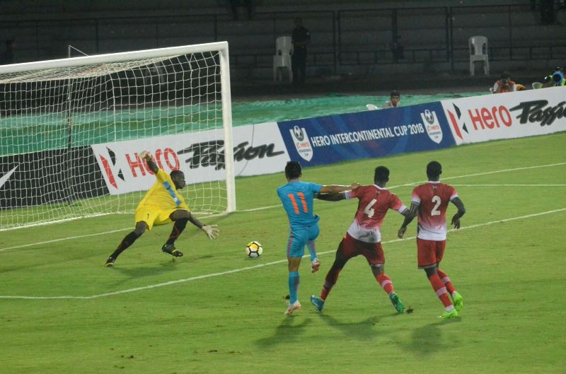 Players in action during an Intercontinental Cup match between India and Kenya at Andheri Sport Complex in Mumbai on June 10, 2018.