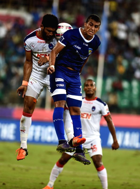 Players in action during an ISL match between Delhi Dynamos FC and Chennaiyin FC at Jawaharlal Nehru Stadium in Chennai on Nov. 24, 2015.