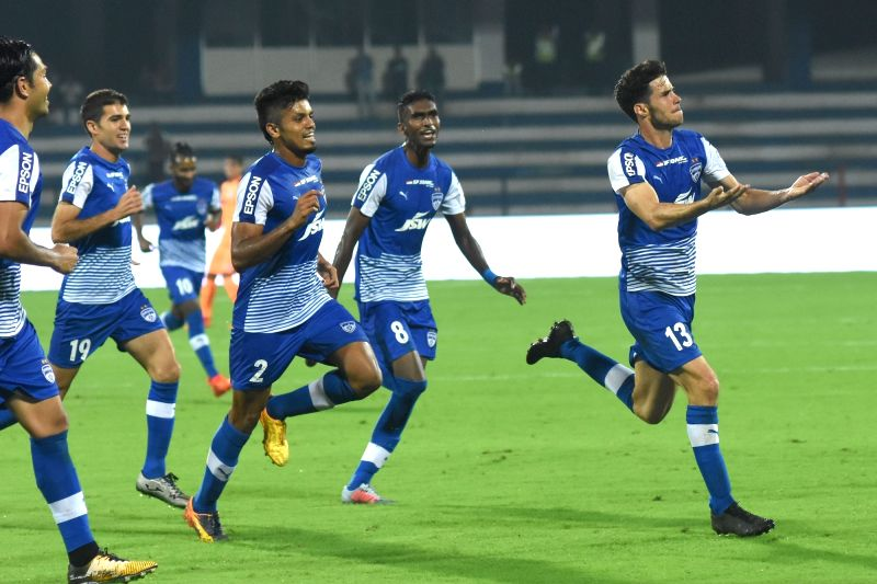 Players in action during an ISL match between Bengaluru FC and Mumbai City FC at Sree Kanteerava Stadium in Bengaluru on Nov 19, 2017.