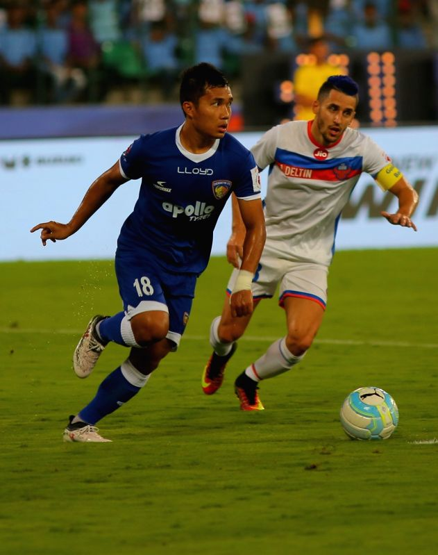 Players in action during an ISL semifinal match between Chennaiyin FC and FC Goa in Chennai on March 13, 2018.