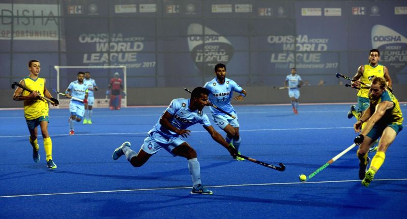 Players in action during Hockey World League Final 2017 between India and Australia at Kalinga Stadium in Bhubaneswar on Dec 1, 2017.