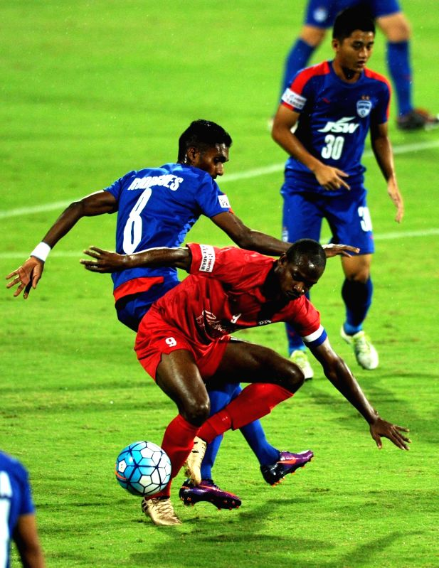 Players in action during I-League match between Churchchill Brothers and Bengaluru FC at Kanteerava Stadium in Bengaluru on April 29, 2017.