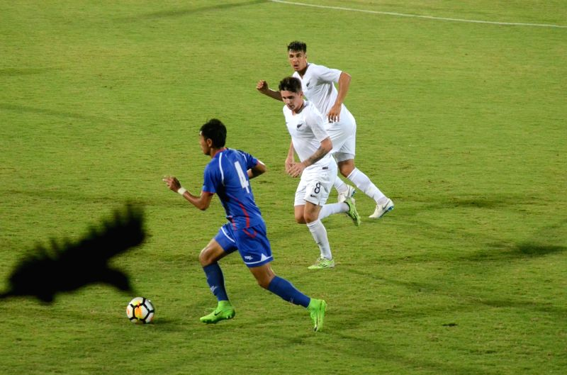 Players in action during Intercontinental Cup match between Chinese Taipei and New Zealand at Andheri Sport Complex in Mumbai on June 5, 2018.