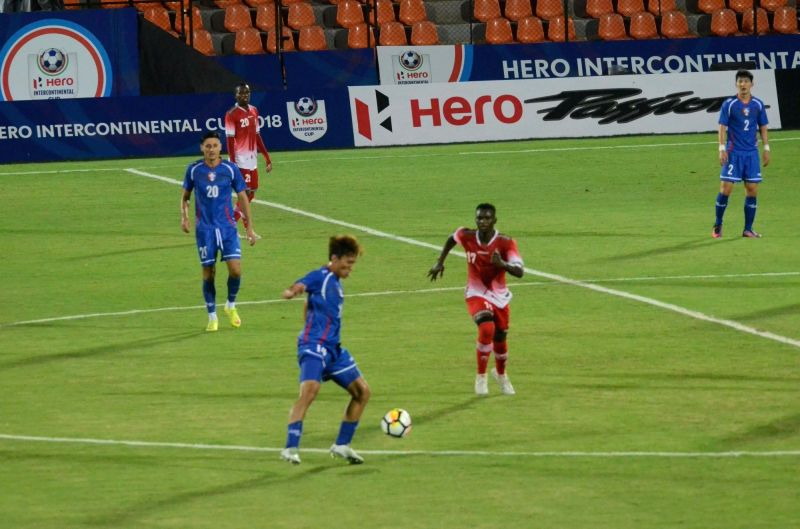 Players in action during Intercontinental Cup match between Chinese Taipei and Kenya at Andheri Sport Complex in Mumbai on June 8, 2018.