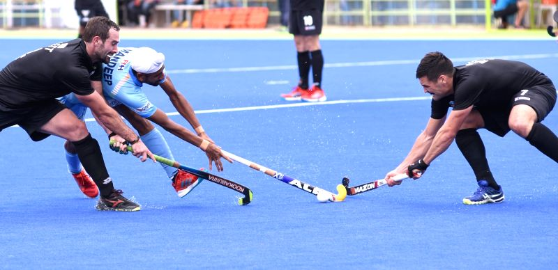 Players in action during the second match of Hockey test series between India and New Zealand in Bengaluru on July 21, 2018. India won the match. Score: 3-1.