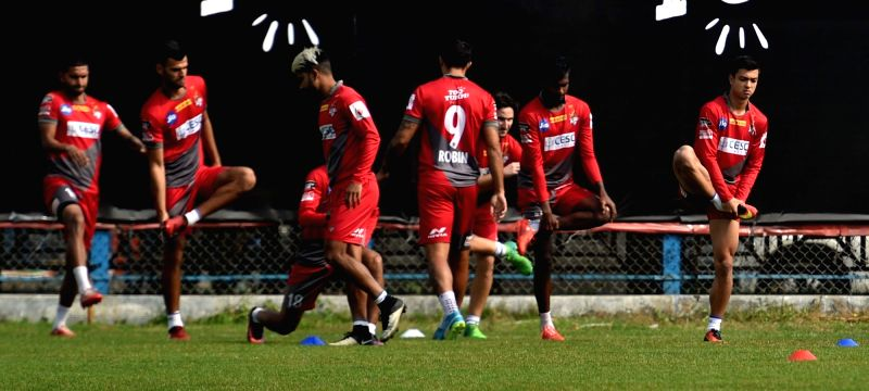 Players of Atletico de Kolkata during a practice session ahead of an ISL match against Jamshedpur FC; in Kolkata on Jan 27, 2018.