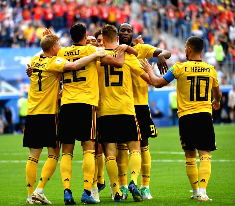Players of Belgium celebrate Thomas Meunier's goal during the 2018 FIFA World Cup third place play-off match between England and Belgium in Saint ...
