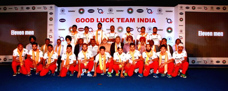 Players of Indian Hockey Team during a programme in New Delhi on May 14, 2014.