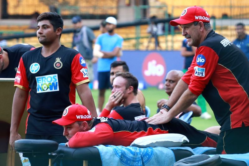 Players of Royal Challengers Bangalore during a practice session at M. Chinnaswamy Stadium in Bengaluru on April 12, 2018.