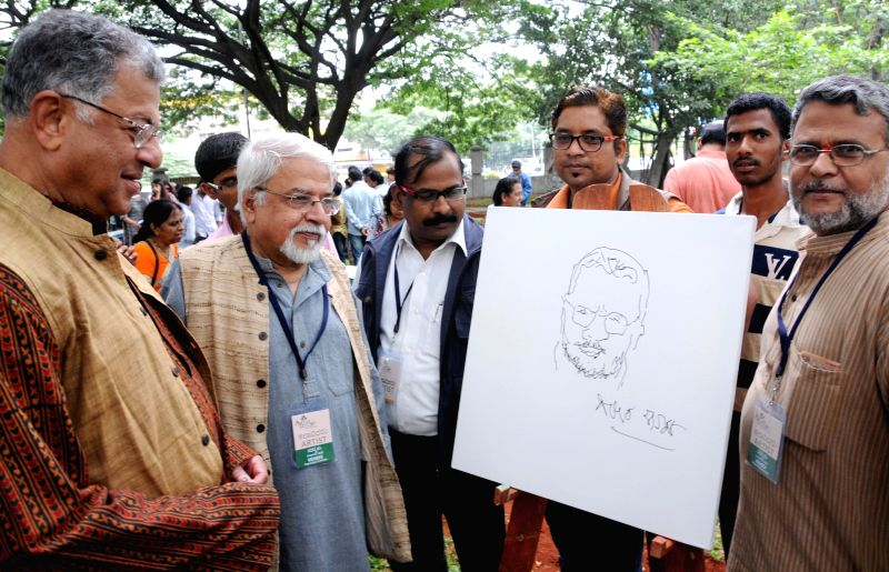 "Playwright and actor Girish Karnad during inauguration of ""Art Park - Bangalore"" - spot painting, exhibition and sale at Ravindra Kalakshetra in Bangalore on July 6, 2014. - Girish Karnad"
