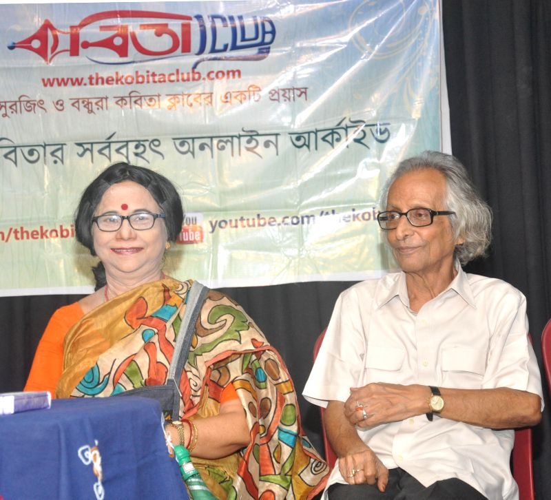 Poet Krishna Basu and novelist Sanjib Chattopadhyay during launch of ` Alpo Kathay Goppo` - a book, in Kolkata on Aug 3, 2014. - Krishna Basu
