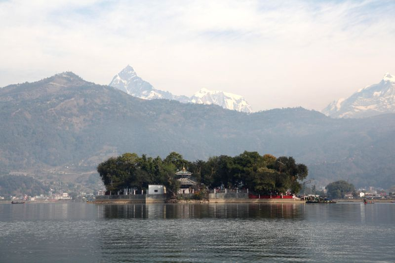 Photo taken on Jan. 25, 2015 shows Barahi temple located on an island of Fewa lake in Pokhara, Nepal.