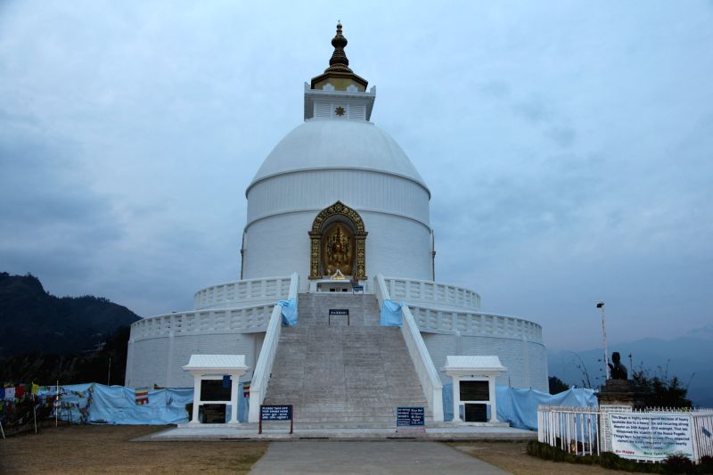 Photo taken on Jan. 25, 2015 shows Shanti Stupa of Pokhara, which is a Buddhist pagoda-style monument on a hilltop in the district of Kaski, Nepal. Shanti Stupa has