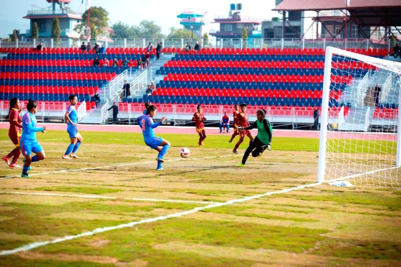 Pokhara: Players in action during the 13th South Asian Games 2019 women football match between India and Sri Lanka at the Pokhara Stadium in Pokhara, Nepal on Dec 5, 2019. (Photo: IANS)