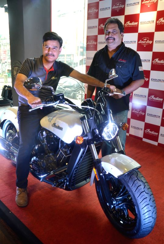 Polaris India Country Head and Managing Director Pankaj Dubey and Exquisite Moto LLP President and CEO Anil Shankar at the launch 0f Indian Scout Sixty motorcycle in Bengaluru, on Aug 10, ...