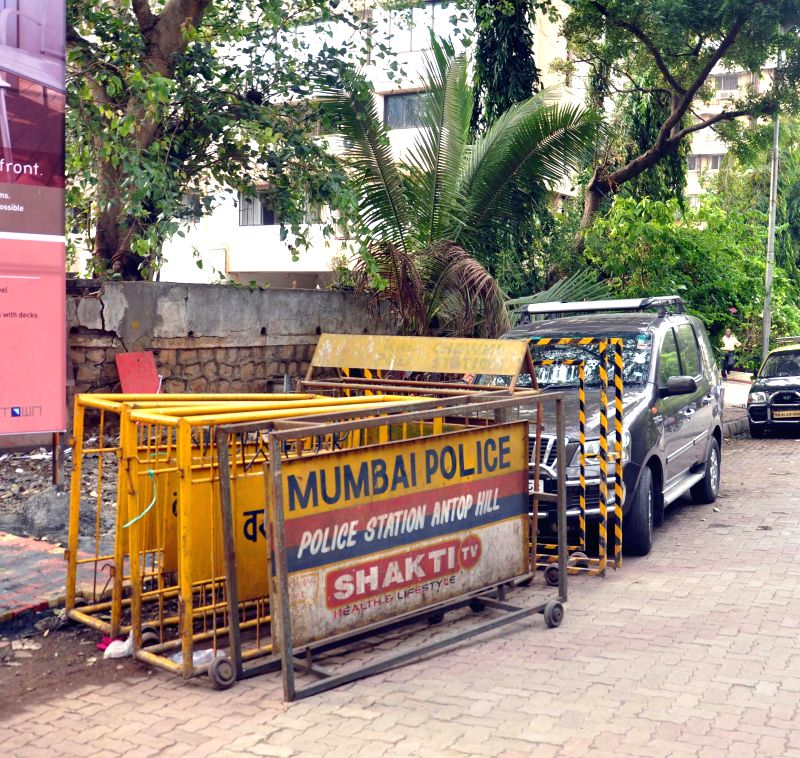 Police barricades placed outside Campa Cola compound which is set to be demolished on Friday (20th June 2014) at Worli in Mumbai on June 19, 2014.