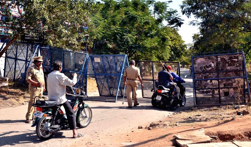 Police deployed in Osmania University where a beef festival was to be organised in Hyderabad on Dec 10, 2015.