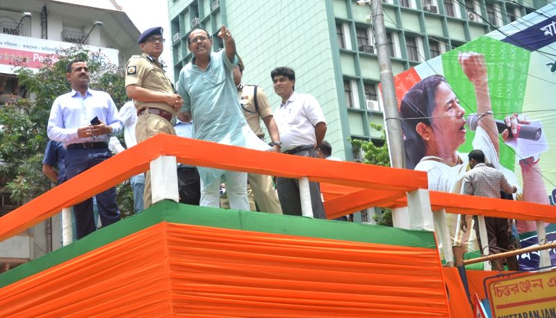 Police inspect the venue of Trinamool Congress Martyr's Day celebrations in Kolkata, on July 20, 2018. 21st July is observed as Martyrs' Day by the party in memory of those killed in 1993 ...